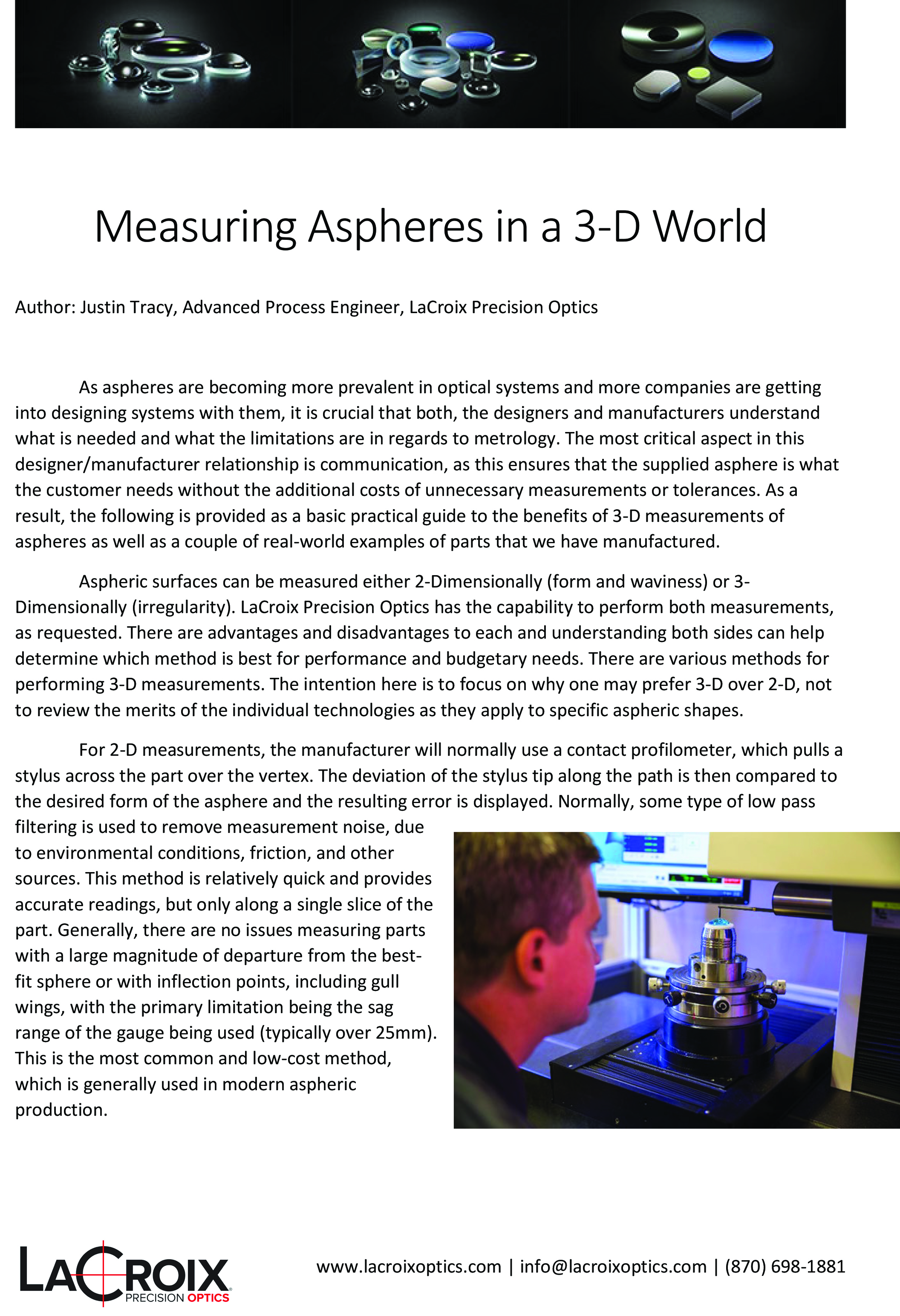 Measuring Aspheres in a 3-D World
